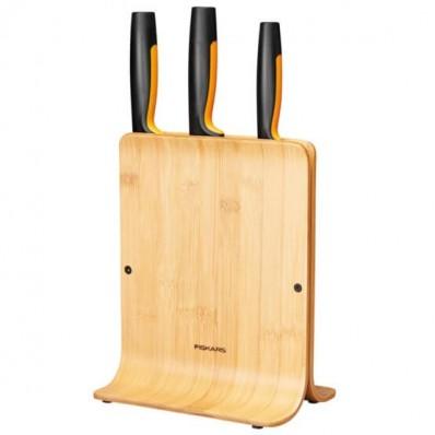 Набор кухонных ножей с бамбуковым блоком Fiskars Functional Form ™ 3 шт 1057553, фото 1