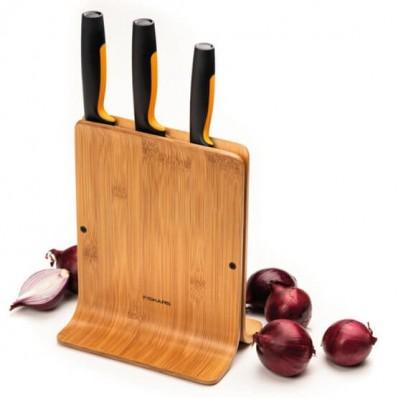 Набор кухонных ножей с бамбуковым блоком Fiskars Functional Form ™ 3 шт 1057553, фото 3
