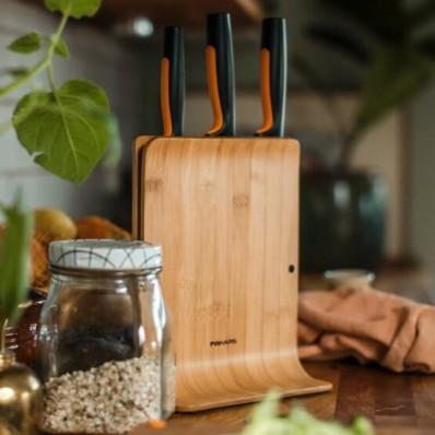 Набор кухонных ножей с бамбуковым блоком Fiskars Functional Form ™ 3 шт 1057553, фото 4
