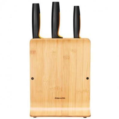 Набор кухонных ножей с бамбуковым блоком Fiskars Functional Form ™ 3 шт 1057553, фото 2
