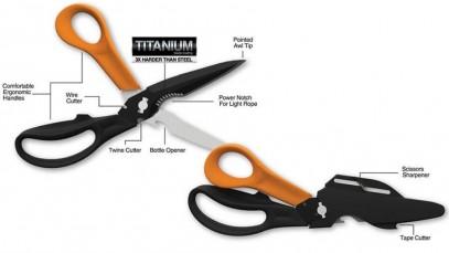 Многофункциональные ножницы Fiskars Cuts+More лезвия с титановым покрытием 23 см 1000809, фото 2